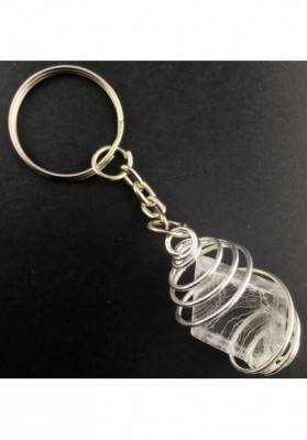 Rough CALCITE Iceland Spar Keychain Keyring with Silver Plated Spiral A+-3
