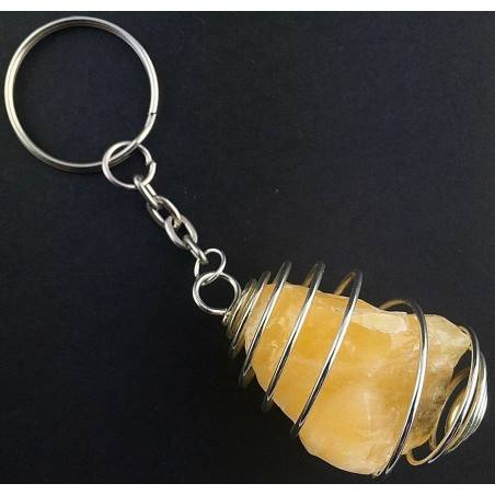 Rough Yellow CALCITE Keychain Keyring - VIRGO SAGITTARIUS Zodiac Silver A+-1