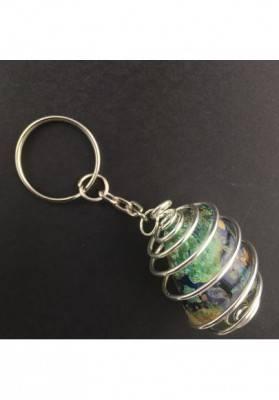 Portachiavi in AZZURRITE MALACHITE Montato con Spirale Placcata Argento Collana-1