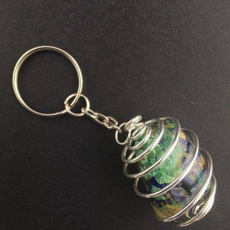 AZURITE MALACHITE Keychain Keyring with Silver Plated Spiral Necklace-1
