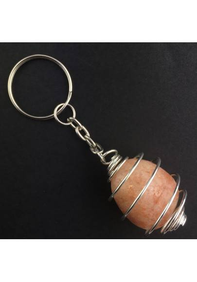 SUN STONE HELIOLITE Keychain Keyring with Silver Plated Spiral Necklace A+-1