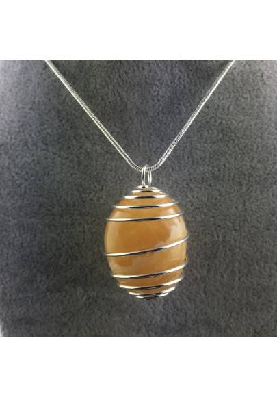 Yellow CALCITE Pendant Hand Made on Silver Plated Spiral Charm Necklace-1