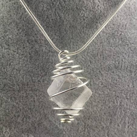 CALCITE Rough Pendant ICELAND SPAR Hand Made on SILVER Plated Spiral Healing Bead-3