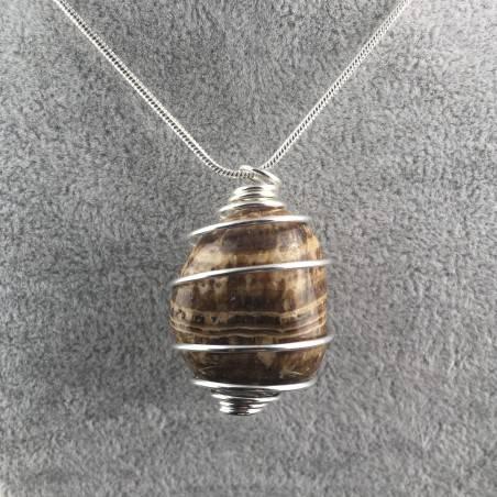 Ciondolo ARAGONITE Montata Artigianalmente Spirale Placcata Argento Collana A+-1