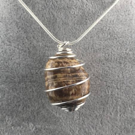 Ciondolo ARAGONITE Montata Artigianalmente Spirale Placcata Argento Collana A+-2