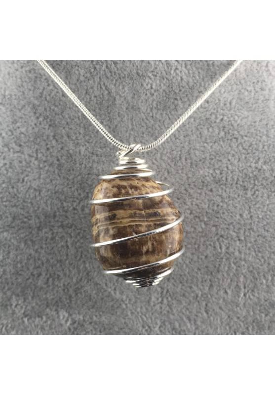 ARAGONITE Pendant Natural Stone - Idea Gift Idea Zodiac Piece Rare Silver Plated Spiral-2