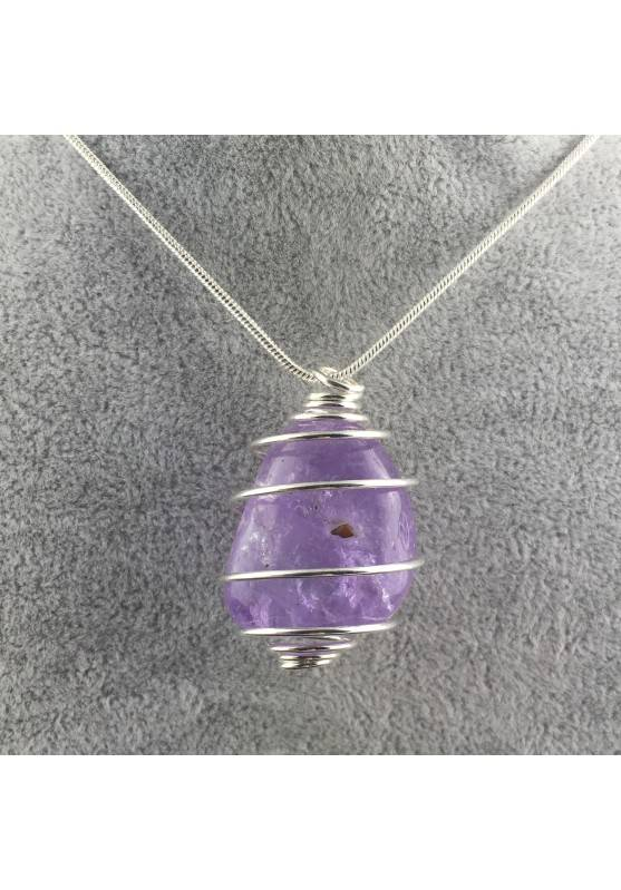 AMETHYST Pendant - SAGITTARIUS Zodiac Silver Plated Spiral Necklace A+-1