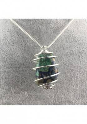 AZURITE MALACHITE Pendant - LIBRA Zodiac Silver Plated Spiral A+-1