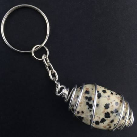 Dalmatian JASPER Keychain Keyring Hand Made on SILVER Plated Spiral-1