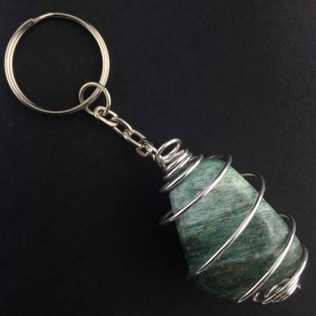 AFRICAN JADE Keychain Keyring - LIBRA Zodiac Silver Plated Spiral Necklace-1
