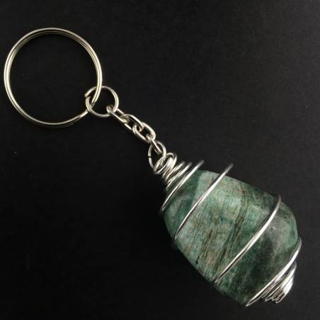 AFRICAN JADE Keychain Keyring - LIBRA Zodiac Silver Plated Spiral Necklace-2
