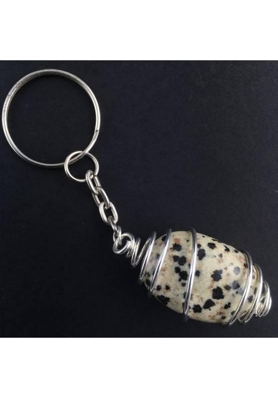 Dalmatian JASPER Keychain Keyring - ARIES Zodiac SILVER Plated Spiral Necklace-1