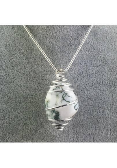 Ciondolo AGATA MUSCHIATA Montata Artigianalmente Spirale Placcata Argento A+-1