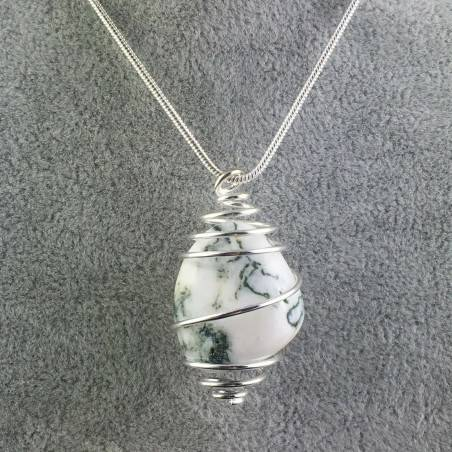 Pendant MOSS Agate Hand Made on Silver Plated Spiral Charm Natural A+-1
