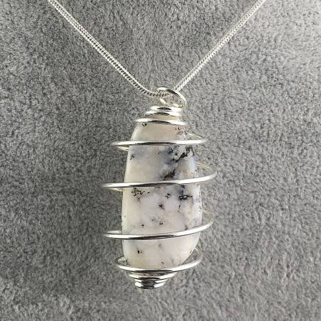 Pendant MOSS Agate Hand Made on Silver Plated Spiral Charm Natural A+-2