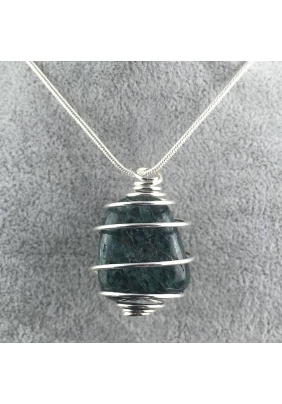 Ciondolo APATITE Montata Artigianalmente Spirale Placcata Argento Collana A+-1