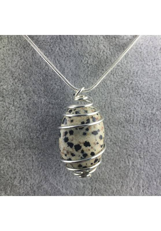 Dalmation JASPER Dalmatine Pendant Hand Made on SILVER Plated Spiral Craft A+-1