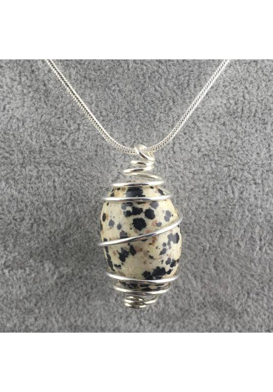 Dalmation JASPER Dalmatine Pendant Hand Made on SILVER Plated Spiral Craft A+-2