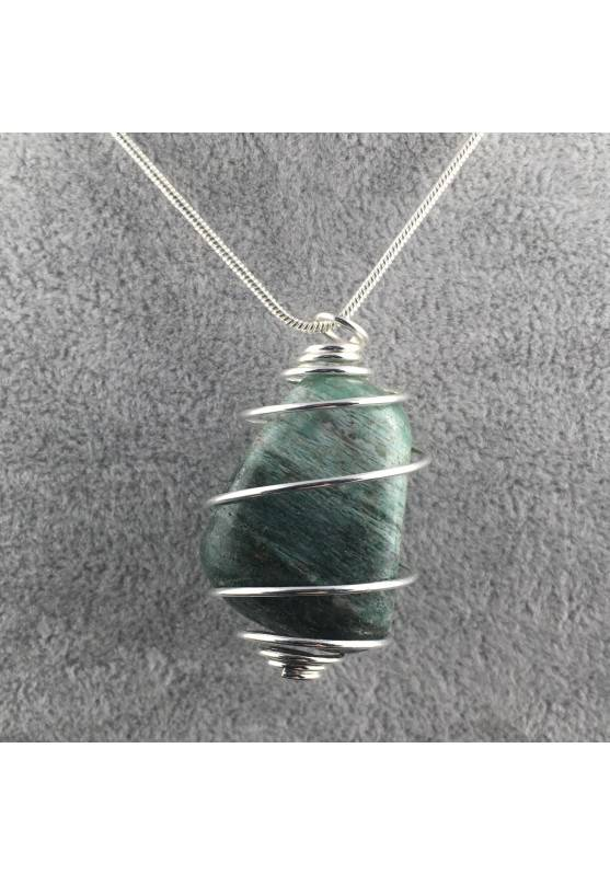 African JADE Pendant Hand Made on Silver Plated Spiral Necklace Healing Charm-1