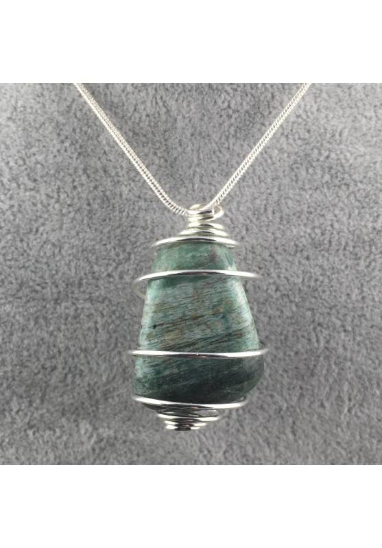 African JADE Pendant Hand Made on Silver Plated Spiral Necklace Healing Charm-2
