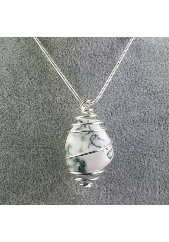 MOSS Agate Pendant- TAURUS SCORPIO Zodiac Silver Plated Spiral A+-1