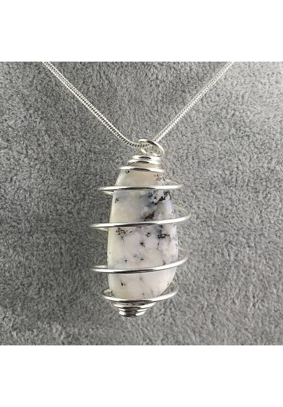 MOSS Agate Pendant- TAURUS SCORPIO Zodiac Silver Plated Spiral A+-2