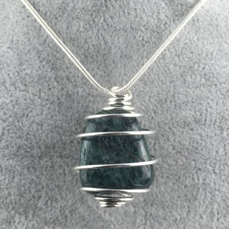 APATITE Pendant - PISCES Zodiac Silver Plated Spiral Necklace Gift Idea A+-1