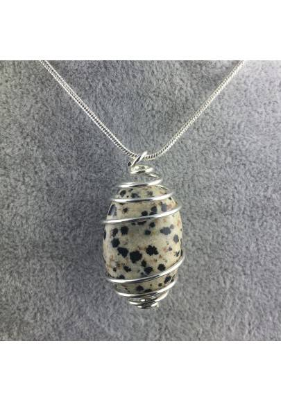 Dalmation JASPER Dalmatine Pendant - ARIES Zodiac SILVER Plated Spiral Necklace A+-1