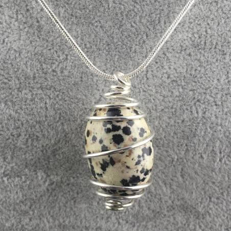 Dalmation JASPER Dalmatine Pendant - ARIES Zodiac SILVER Plated Spiral Necklace A+-2