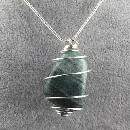 African JADE Pendant - LIBRA Zodiac Silver Plated Spiral Necklace A+-1