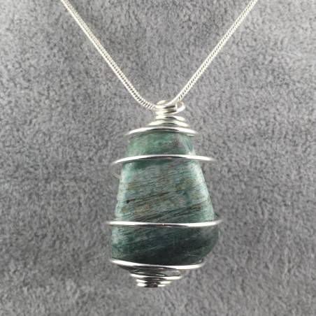 African JADE Pendant - LIBRA Zodiac Silver Plated Spiral Necklace A+-2