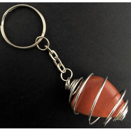 SUN STONE Red Sand Tumbled Keychain Keyring Handmade Silver Plated Spiral A+-1