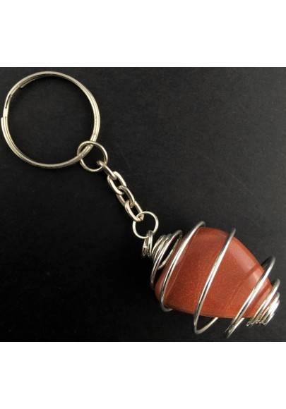 SUN STONE Red Sand Tumbled Stone Keychain Keyring - LEO SCORPIO Zodiac Silver A+-1