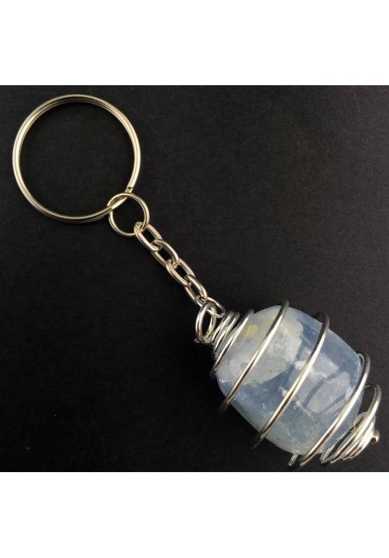 CELESTITE Tumbled Stone Keychain Keyring - GEMINI AQUARIUS Silver Plated Spiral A+-2