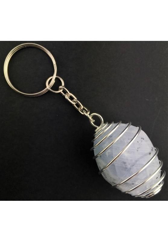 CELESTITE Tumbled Stone Keychain Keyring - GEMINI AQUARIUS Silver Plated Spiral A+-3