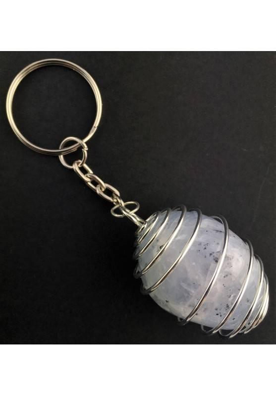 CELESTITE Tumbled Stone Keychain Keyring - GEMINI AQUARIUS Silver Plated Spiral A+-4