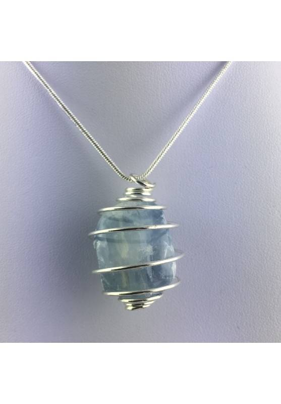 CELESTITE Crystal Pendant Hand Made on Silver Plated Spiral Minerals Stone Healing-1