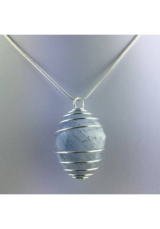 CELESTITE Crystal Pendant Hand Made on Silver Plated Spiral Minerals Stone Healing-4