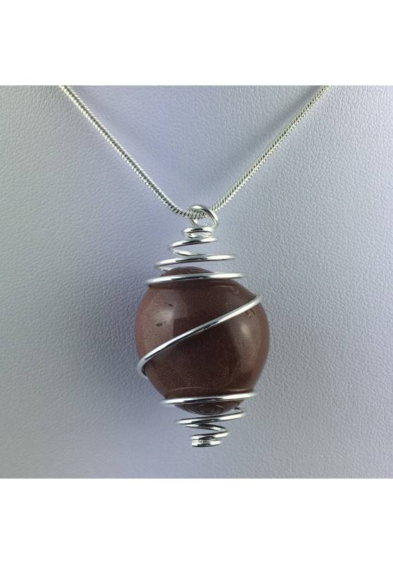Red Sun Stone Pendant Tumbled Stone Hand Made on SILVER Plated Spiral A+-2