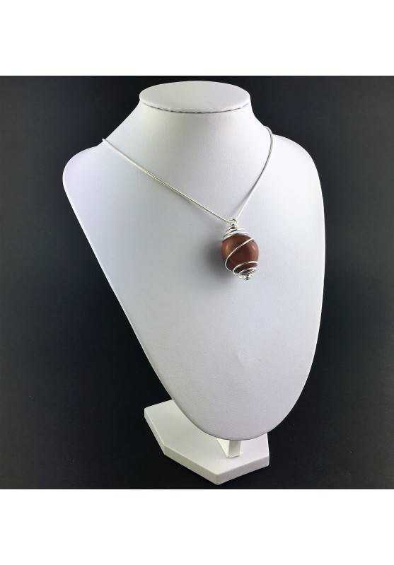 Red Sun Stone Pendant Tumbled Stone Hand Made on SILVER Plated Spiral A+-3