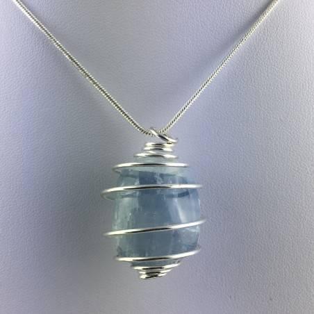 CELESTITE Crystal Pendant - GEMINI AQUARIUS Zodiac SILVER Plated Spiral A+-2