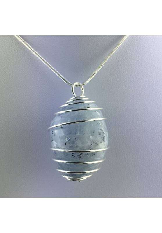 CELESTITE Crystal Pendant - GEMINI AQUARIUS Zodiac SILVER Plated Spiral A+-5