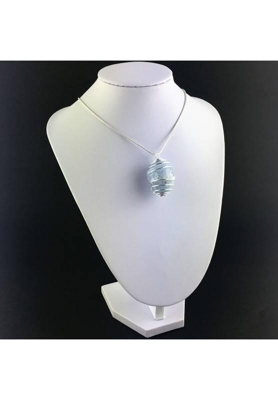 CELESTITE Crystal Pendant - GEMINI AQUARIUS Zodiac SILVER Plated Spiral A+-6