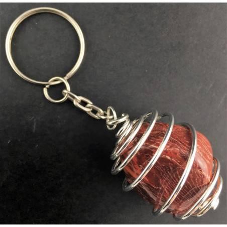 Portachiavi DIASPRO ARCOBALENO Montata Artigianalmente Spirale Placcata Argento-1