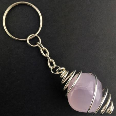 Lavender JADE Keychain Keyring Hand Made on Silver Plated Spiral A+-1