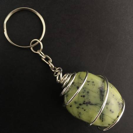 Nephrite JADE Keychain Keyring Hand Made on SILVER Plated Spiral A+-1