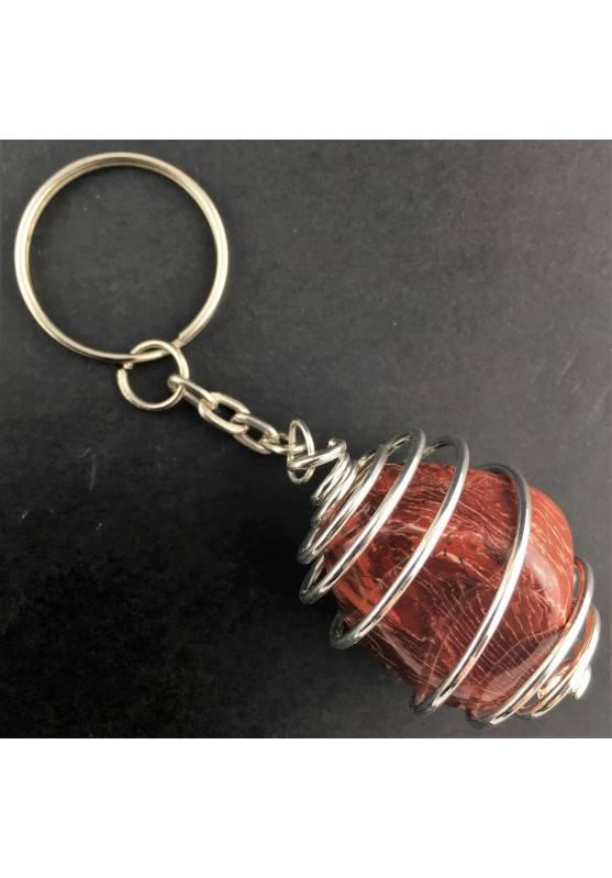 Rainbow JASPER  Keychain Keyring - ARIES LEO Zodiac Silver Plated Spiral-1