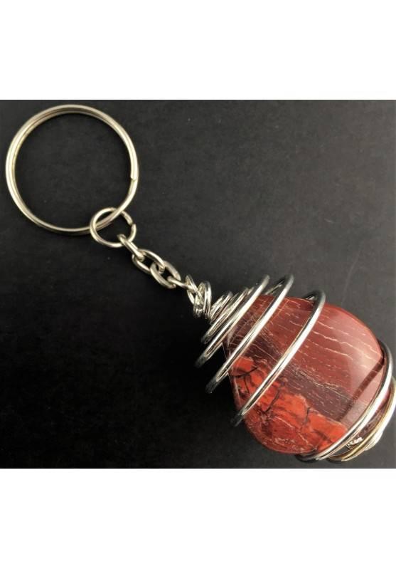 Rainbow JASPER  Keychain Keyring - ARIES LEO Zodiac Silver Plated Spiral-2