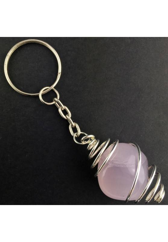 Lavender JADE Keychain Keyring - TAURUS Zodiac Silver Plated Spiral Necklace A+-1