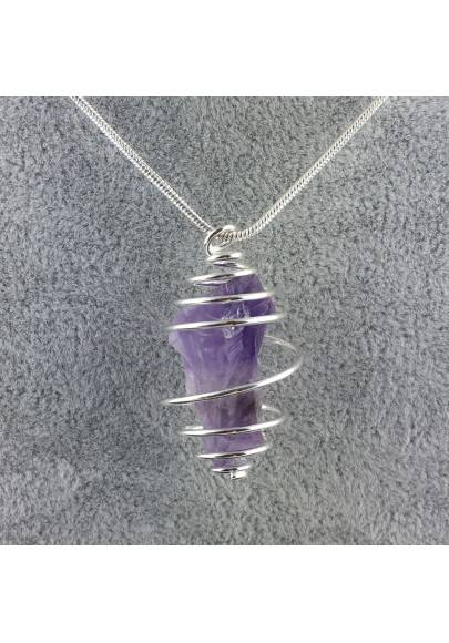 Pendant Point In AMETHYST Hand Made on Silver Plated Spiral Rough Unpolished A+-1